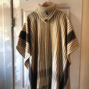 Vintage handwoven wool poncho